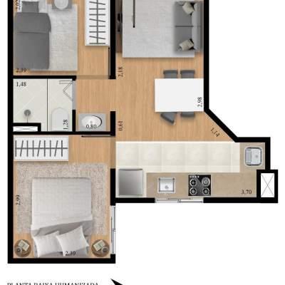 Residencial Manzoni - Planta 36m² Unidade 13