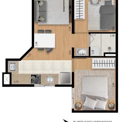 Residencial Manzoni - Planta 37m² Unidade 7