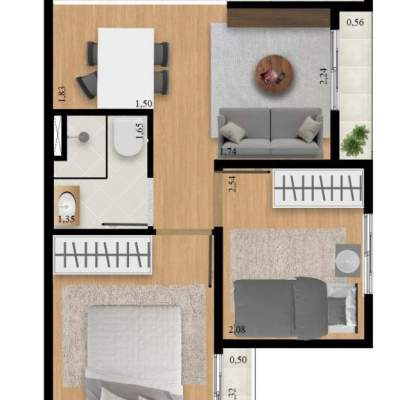 Residencial Manzoni - Planta 39m² Unidade 1 Garden