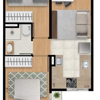 Residencial Manzoni - Planta 39m² Unidade 10