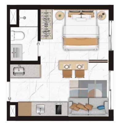 Viva Benx Estilo Pompeia - Planta 24m² 1 Dormitorio