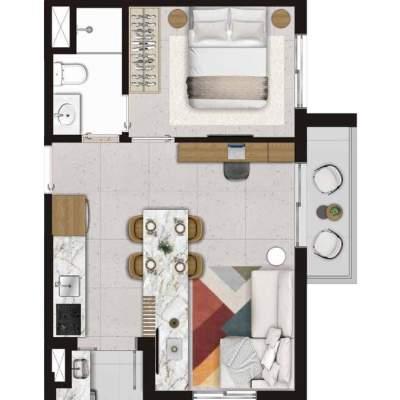 Viva Benx Estilo Pompeia - Planta 40m² 1 Dormitorio