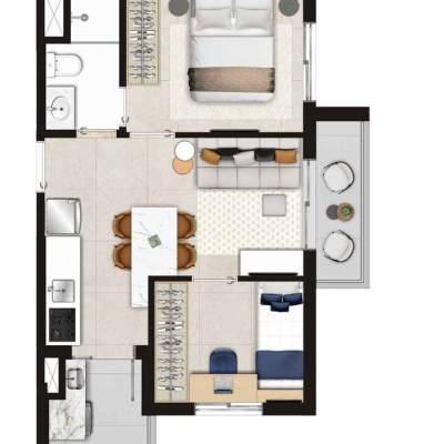 Viva Benx Estilo Pompeia - Planta 40m² 2 Dormitorios