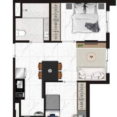 Viva Benx Estilo Pompeia - Planta 45m² 2 Dormitorios