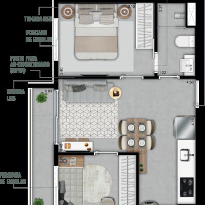 Do It Vila Olímpia - Planta 39m² - 2 dormitórios
