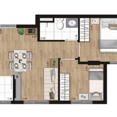 KZ Vision Freguesia do Ó - Planta 36m² - 2 dormitórios