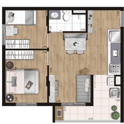 KZ Vision Freguesia do Ó - Planta 42m² - 2 dormitórios