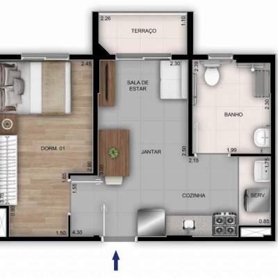Mérito Sabará - Planta 37m² - 1 dormitório PNE
