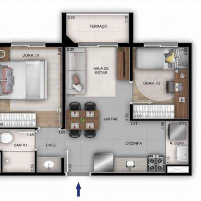 Mérito Sabará - Planta 37m² - 2 dormitórios