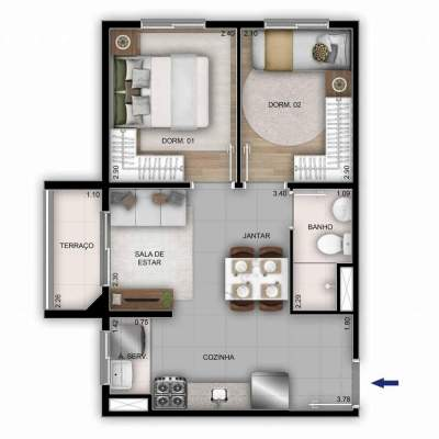 Mérito Sabará - Planta 38m² - 2 dormitórios