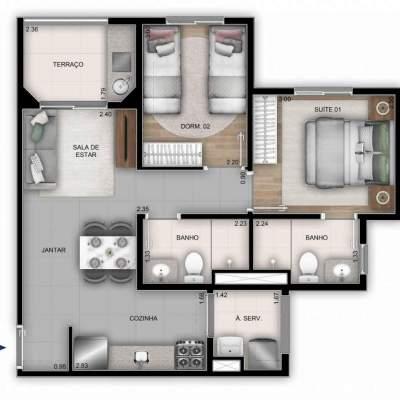 Mérito Sabará - Planta 50m² - 2 dormitórios