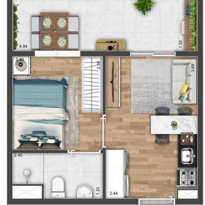 Mood Mooca - Planta 27m² - 1 dormitório com ampla varanda