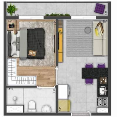 Mood Mooca - Planta 27m² - 1 dormitório