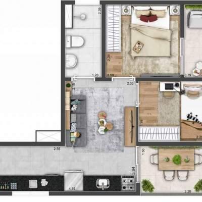 Mood Mooca - Planta 36m² - 2 dormitórios