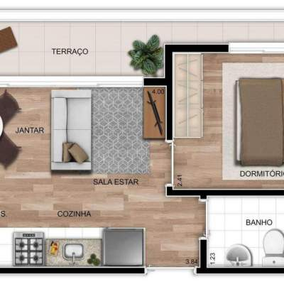 Mundo Apto Vila Matilde - Planta 33m² - 1 dormitório