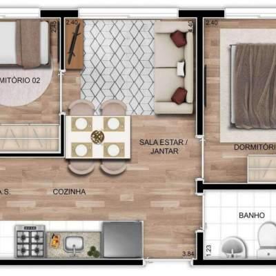 Mundo Apto Vila Matilde - Planta 34m² - 2 dormitórios sem sacada