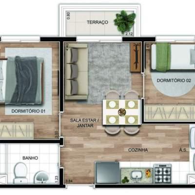 Mundo Apto Vila Matilde - Planta 36m² - 2 dormitórios com sacada