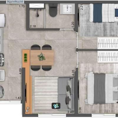 Neoconx Elísio 660 - Planta 37m² 2 dormitórios