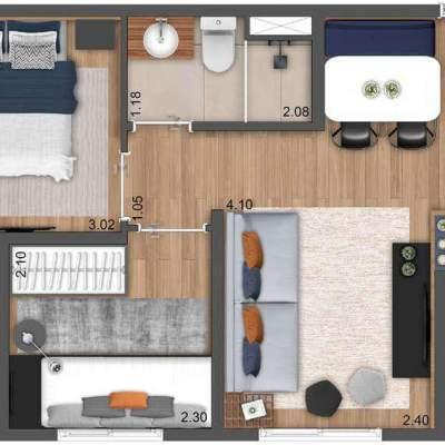 Neoconx Elísio 660 - Planta 38m² 2 dormitórios