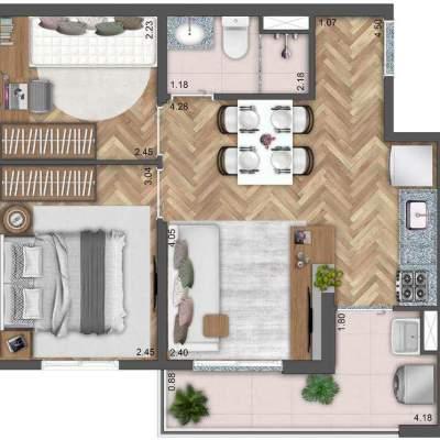 Neoconx Elísio 660 - Planta 42m² 2 dormitórios bloco b