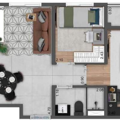 Neoconx Elísio 660 - Planta 44m² 2 dormitórios