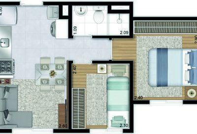 Plano & Brás - Planta 32m² - 2 dormitórios