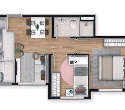 Apê Vila Ema - Planta 34m² - 2 dormitórios