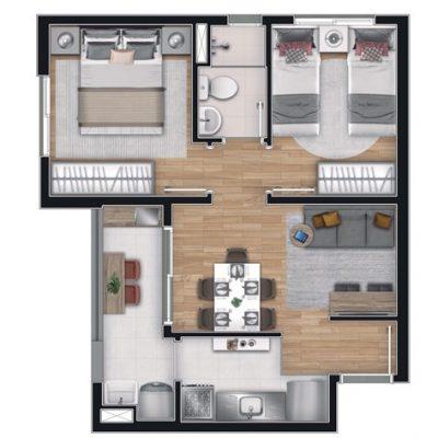 Apê Vila Ema - Planta 39m² - 2 dormitórios com varanda