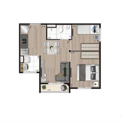 Aroeira Alto do Jardim Econ - Planta 37m² 2 dormitórios