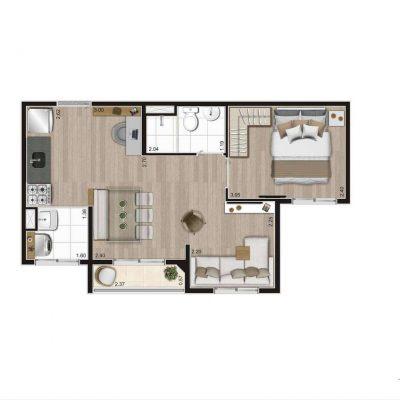 Aroeira Alto do Jardim Econ - Planta 37m² opção 1 dormitório