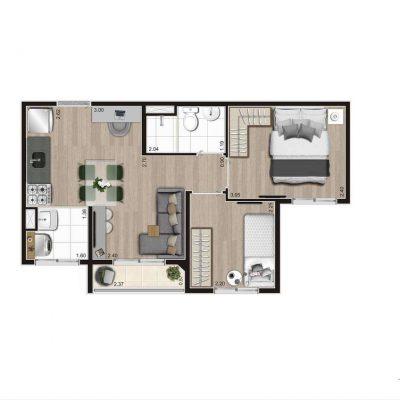 Aroeira Alto do Jardim Econ - Planta 37m² tipo 2 dormitórios