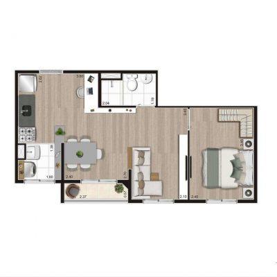 Aroeira Alto do Jardim Econ - Planta 39m² opção 1 dormitório