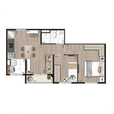 Aroeira Alto do Jardim Econ - Planta 39m² tipo 2 dormitórios