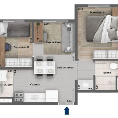 Dez Celeste - Planta 34m² - 2 dormitórios