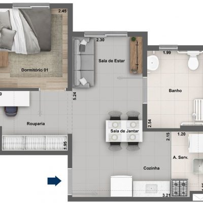 Dez Celeste - Planta 37m² - 1 dormitório PCD