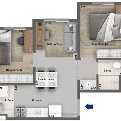Dez Celeste - Planta 37m² - 2 dormitórios