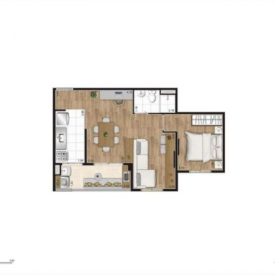 Jacarandá Alto do Jardim Econ - Planta 45m² opção 1 dormitório
