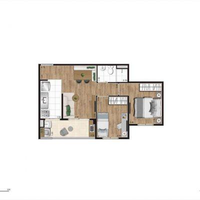 Jacarandá Alto do Jardim Econ - Planta 45m² padrão 2 dormitórios
