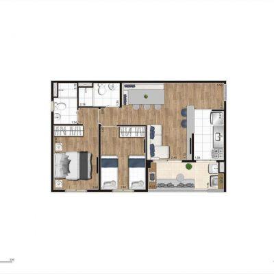 Jacarandá Alto do Jardim Econ - Planta 56m² padrão 2 dormitórios com suíte