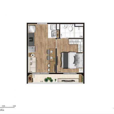 Jequitibá Alto do Jardim Econ - Planta 29m² 1 dormitório