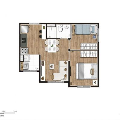Jequitibá Alto do Jardim Econ - Planta 35m² 2 dormitórios