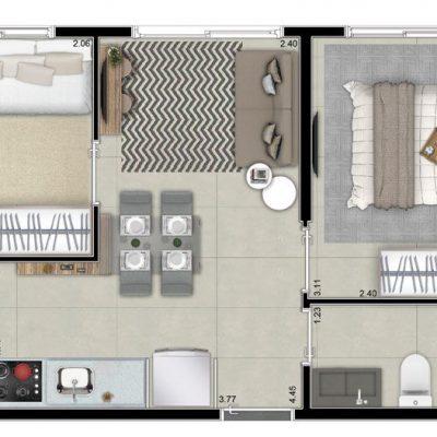 Neoconx Freguesia - Planta 33m² - 2 dormitórios