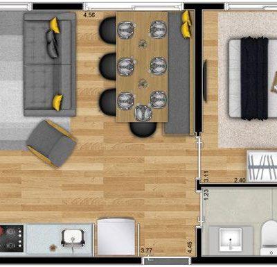 Neoconx Freguesia - Planta 33m² - 1 dormitório e living ampliado