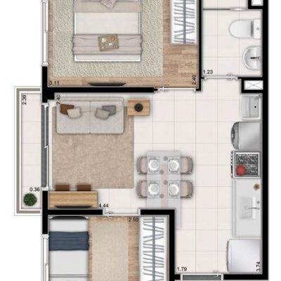Neoconx Freguesia - Planta 34m² - 2 dormitórios com sacada