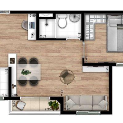 Show Zona Sul Econ - Planta 37m² - opção 1 dormitório