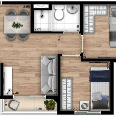 Show Zona Sul Econ - Planta 37m² - padrão 2 dormitórios