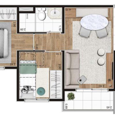 Sppace Jardim Botânico - Planta 40m² - 2 dormitórios