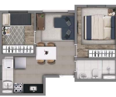 Vivaz Penha - Planta 34m² - 2 dormitórios