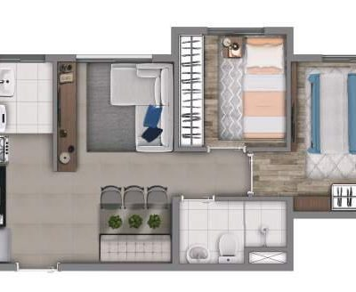 Vivaz Penha - Planta 38m² - 2 dormitórios