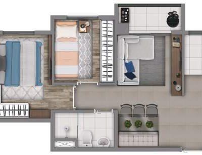 Vivaz Penha - Planta 41m² - 2 dormitórios com varanda